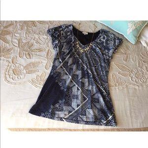 Anthropologie Deletta L blue boho blouse top mesh